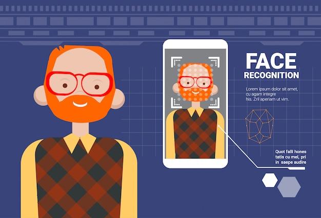 Slimme telefoon scannen man gezicht moderne identificatie systeem moderne technologie van biometrical recognition concept