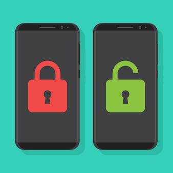 Slimme telefoons vergrendeld en smartphones ontgrendeld