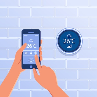 Slimme thermostaat als smart home concept.