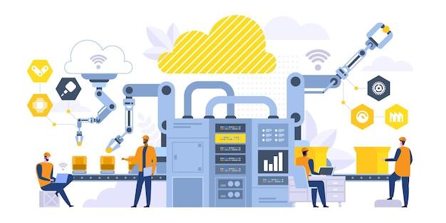 Slimme transportband platte vectorillustratie. fabrieksmanagers, ingenieur die werkt met computer stripfiguren. productieprocescontrole, moderne robotmachines. industriële revolutie