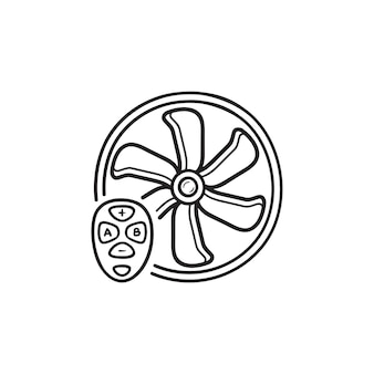 Slimme ventilator met afstandsbediening hand getrokken schets doodle pictogram. smart home, ventilatie en luchtkoeling concept