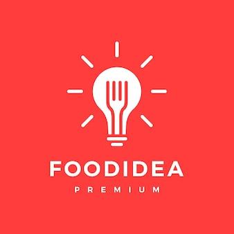 Slimme voedsel lamp vork idee logo