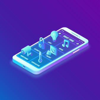 Slimme woning. 3d isometrische interface op het scherm van de smartphone-app. remote home control systeem interface op smartphone.
