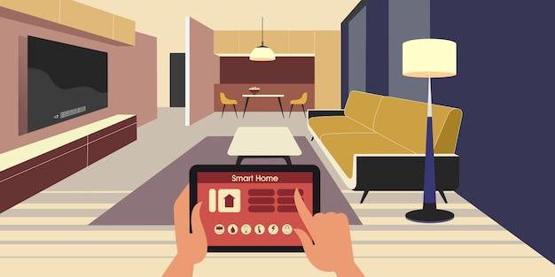 Slimme woning. iot-apparaten bedienen met behulp van een tablet via een netwerk.