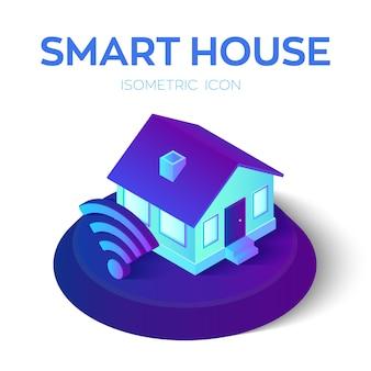 Slimme woning. isometrische huisje met wi-fi teken. remote home control-systeem.