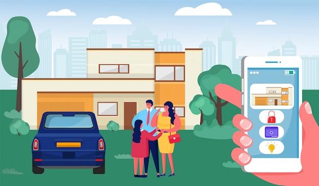 Slimme woning, smartphone van de beeldverhaal menselijke handholding met controleinterface, het concept van de het systeemtechnologie van het automatiseringshuis
