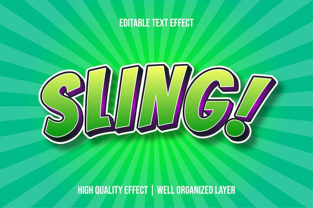Sling green cartoon tekststijleffect