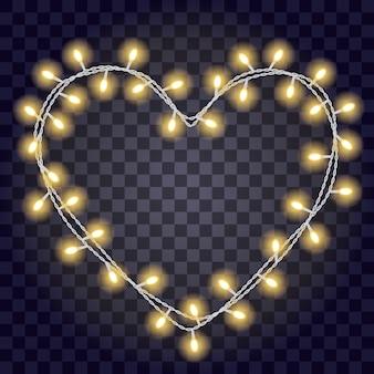 Slinger in de vormvorm van hart met gloeiende gele die lichten op donkere violette transparante achtergrond worden geïsoleerd.