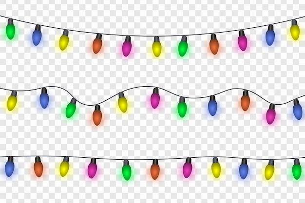 Slingers, feestelijke decoraties. gloeiende kerstmislichten die op transparante achtergrond worden geïsoleerd