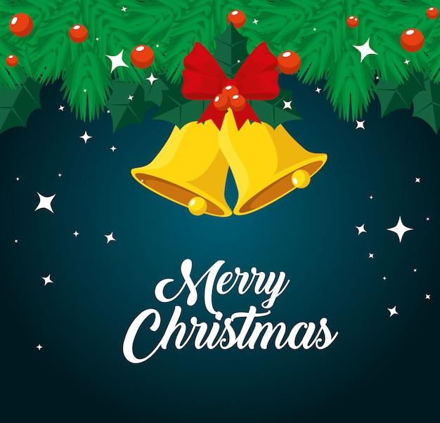 Slingers met ballen en bellen aan vrolijke kerstmis