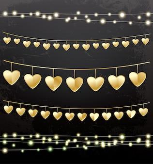 Slingers met gouden harten. decoratieset. vectorillustratie