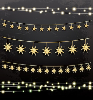 Slingers met sterren. decoratieset. vectorillustratie.