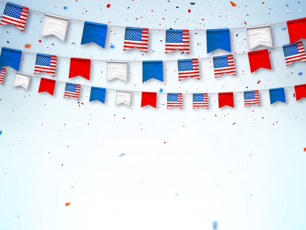 Slingers van amerikaanse vlaggen. banner om te vieren