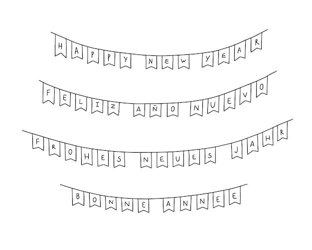 Slingers van gelukkige nieuwjaarsgroeten in verschillende talen. engels, spaans, duits, frans
