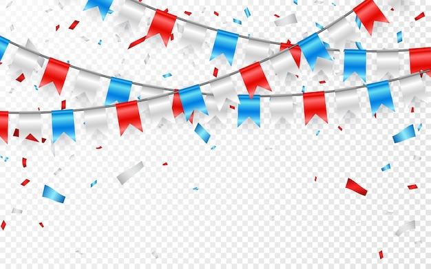 Slingers van rood wit blauwe vlaggen. blauwe, witte en rode folieconfetti.