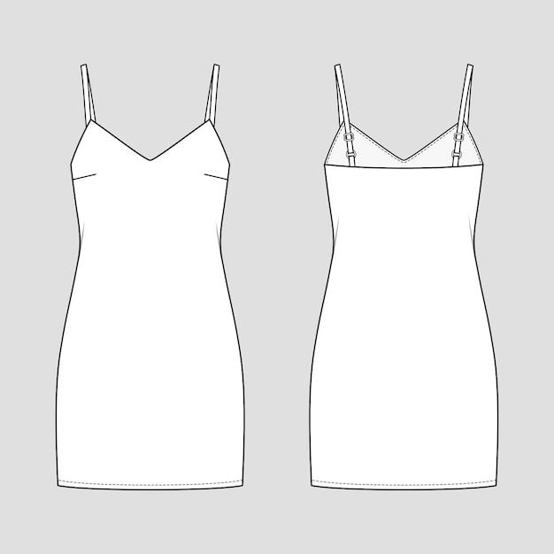 Slip mini-jurk. mode schets. vector illustratie. platte technische tekening. mockup-sjabloon.