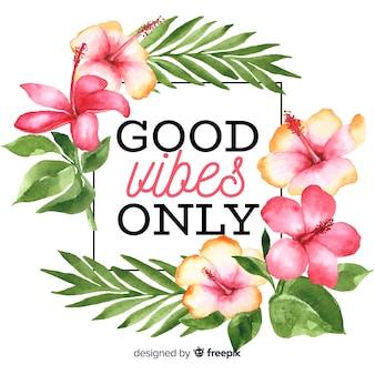 Slogan met hand getrokken bloemenachtergrond