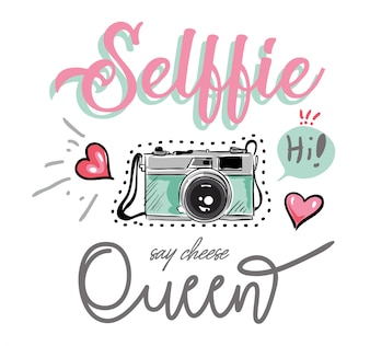 Slogan met kleurrijke camera en pictogrammenillustratie