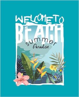 Slogan met tropisch strand en bloemillustratie
