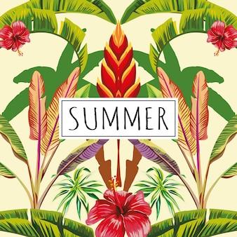 Slogan zomer tropische bladeren en bloemen gele achtergrond