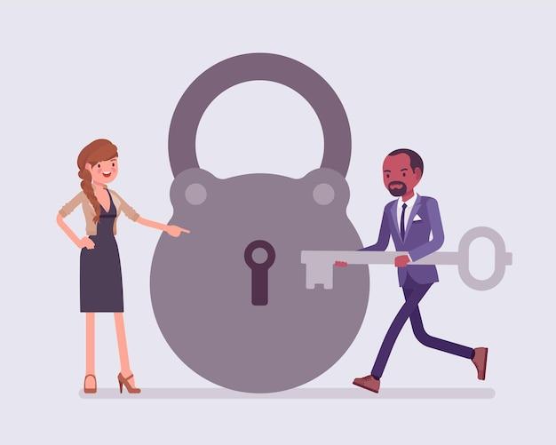 Slot en sleutel, zakelijke probleemoplossing en besluitvormingsmetafoor