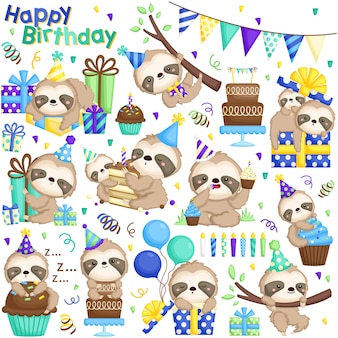 Sloth birthday vector set