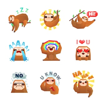 Sloth emoticon stickers set