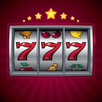 Slotmachine lucky seven georganiseerd door lagen globale kleuren verlopen gebruikt