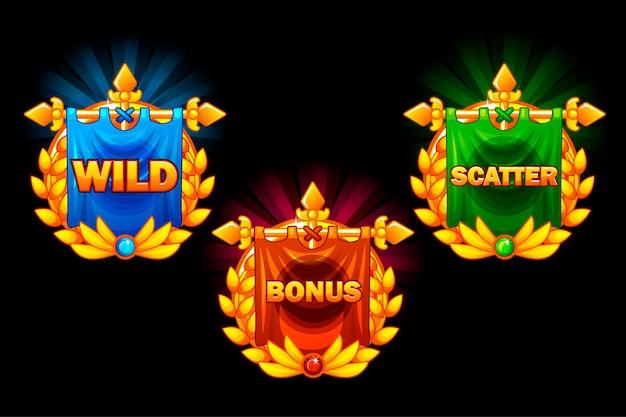 Slots iconen, verzamelingen symbolen wild, bonus en scatter.