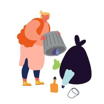 Sloveense vrouw gooit afval uit de vuilnisbak die de omgeving vervuilt
