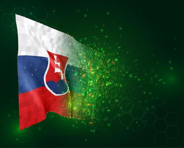 Slowakije, 3d vlag op groene achtergrond met polygonen