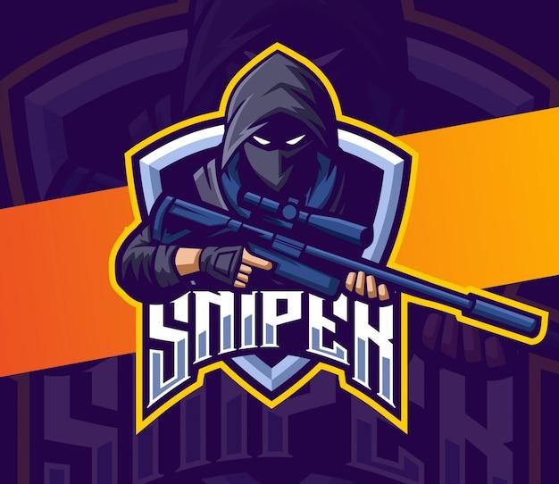 Sluipschutter met geweer mascotte esport logo gaming