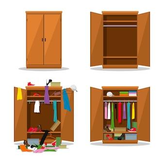 Sluit en open garderobeset, vóór slordig en na opgeruimde kledingkast met rommelige kleren.