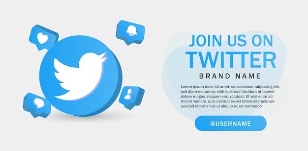 Sluit je aan bij ons op twitter voor de banner van sociale media-pictogrammen in 3d-pictogrammen met ronde cirkels