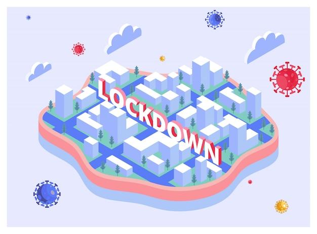 Sluit je af in een drijvende stad om covid-19 - isometrische illustratie te vermijden