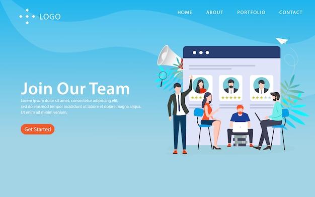 Sluit me aan bij ons team, websitemalplaatje, gelaagd, gemakkelijk uit te geven en aan te passen, illustratieconcept