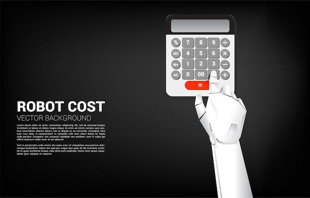 Sluit omhoog de aanrakingsknoop van de robothand op calculator. bedrijfsconcept kosten van robotinvestering. oplossing van ai machine learning