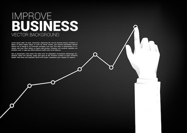 Sluit omhoog de grafiek van de de duwvoorraad van de zakenmanhand aan hoger. achtergrondconcept voor het maken van succes en de groeizaken