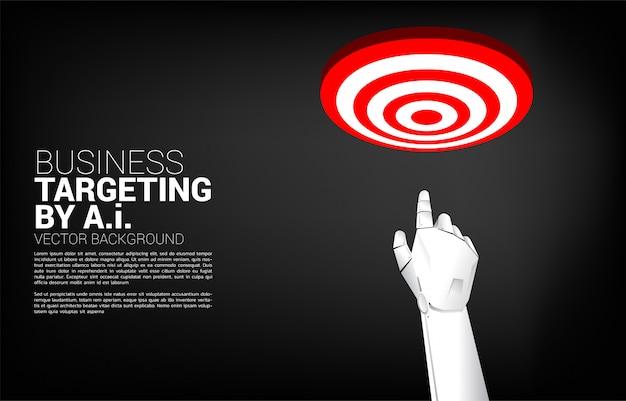 Sluit omhoog het puntvinger van de robothand aan centrum van dartboard. bedrijfsconcept richten en klant. bedrijfsvisieopdracht.