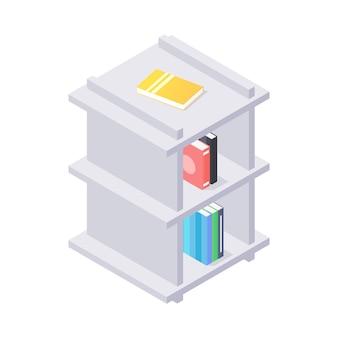 Sluit omhoog op moderne planken met boeken isometrische illustratie