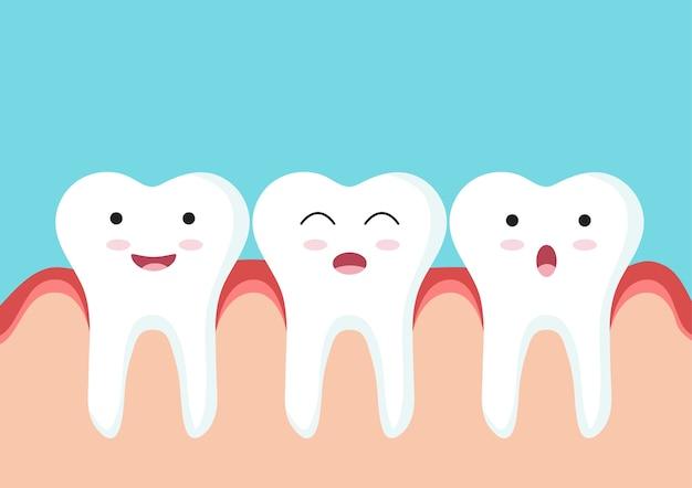 Sluit omhoog van het karakter van het tandenpictogram