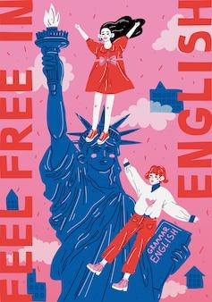 Sluit omhoog van het vrijheidsbeeld, de stad van new york