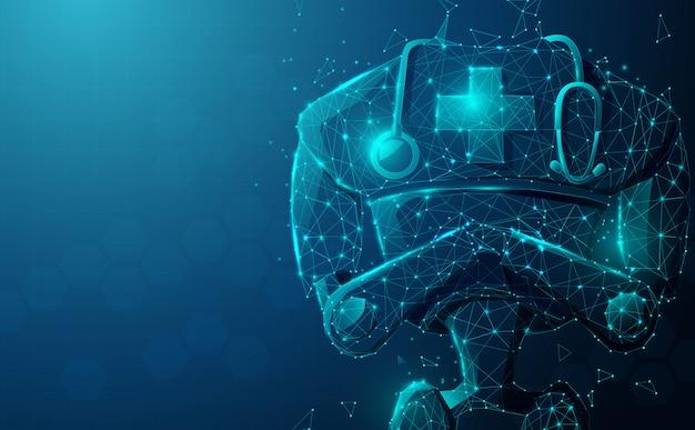 Sluit omhoog van robot arts met stethoscoop. kunstmatige intelligentie, ai.