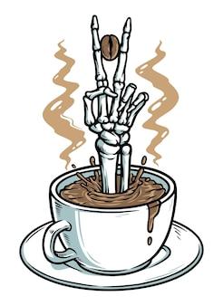 Sluit vrede met koffieconcept dat op wit wordt geïsoleerd