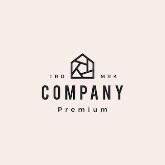 Sluiter huis huis camera foto hipster vintage logo vector pictogram illustratie
