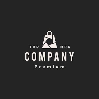 Sluiter winkel winkel boodschappentas camera foto hipster vintage logo vector pictogram illustratie