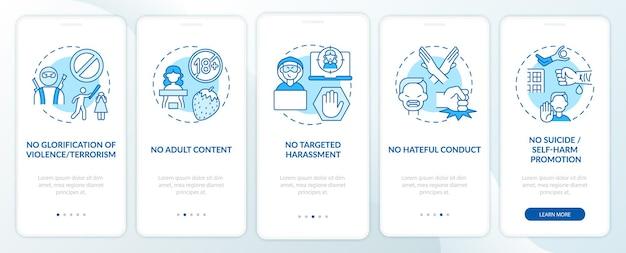 Sm-platform veiligheidsregels onboarding mobiele app paginascherm met concepten