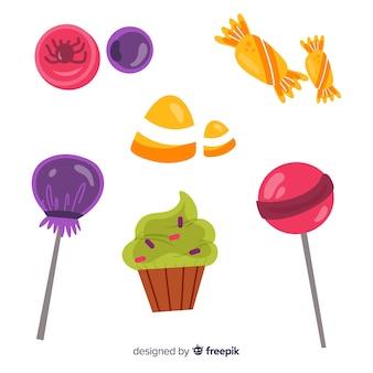 Smaakvol suikergoed voor halloween-nacht op witte achtergrond