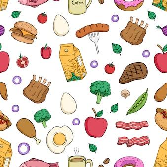 Smakelijk lunchvoedsel in naadloos patroon met gekleurde krabbelstijl