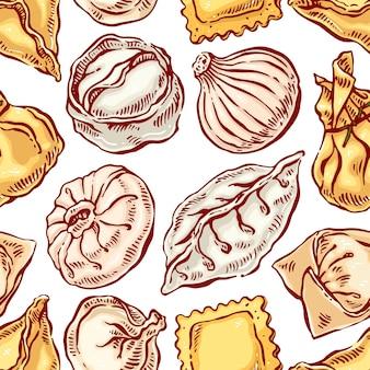 Smakelijk naadloos met een verscheidenheid aan dumplings. handgetekende illustratie